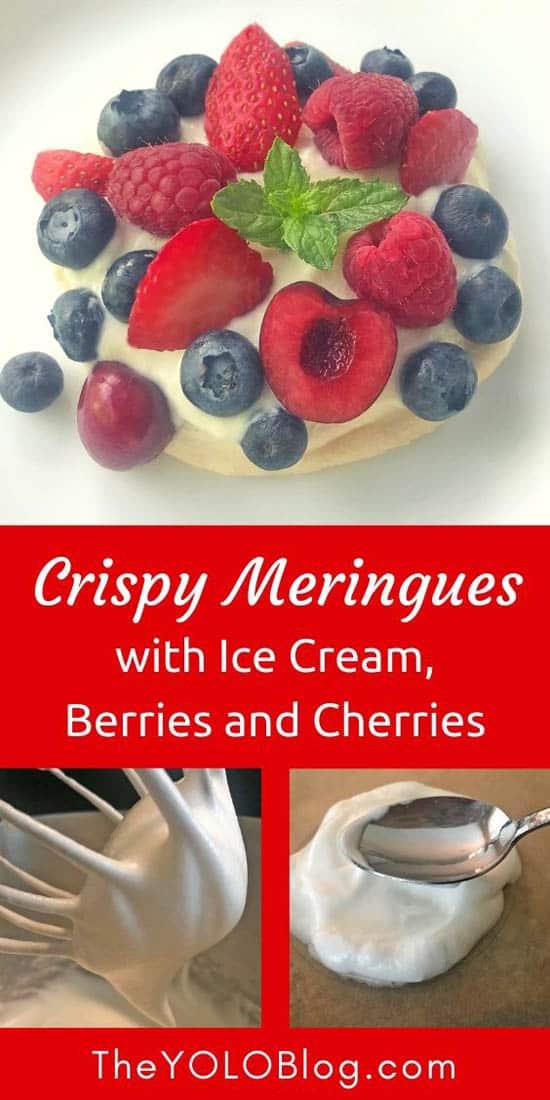 Crispy meringues with berries