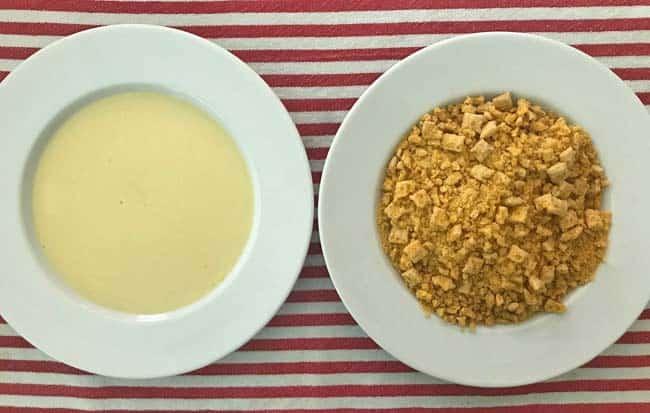 Egg batter and Cap'n Crunch crumbs