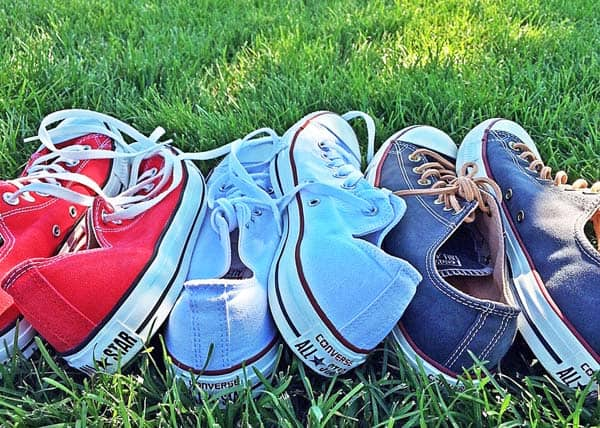Red white and blue sneakers