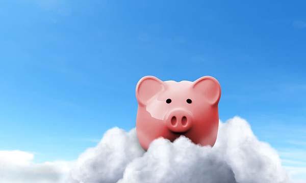 Piggy bank in the clouds