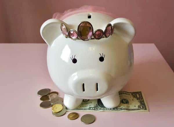 Piggy bank with tiara