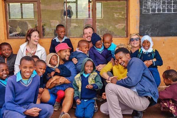 Pat Kelly at Bright English Medium School in Tanzania