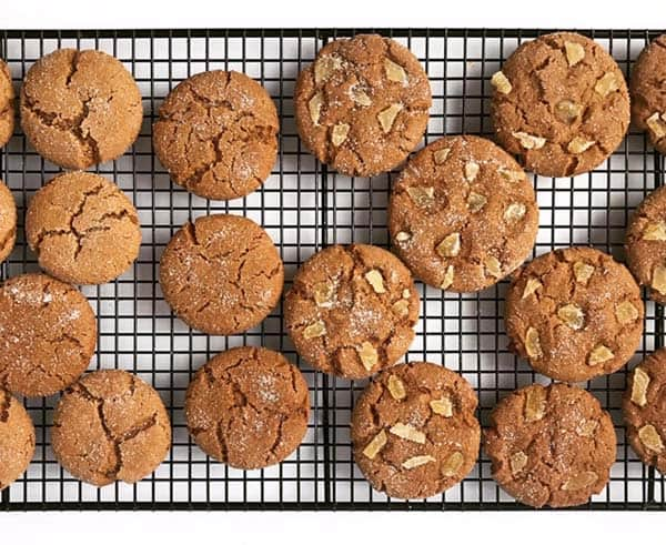 Ginger cookies cooling on a rack