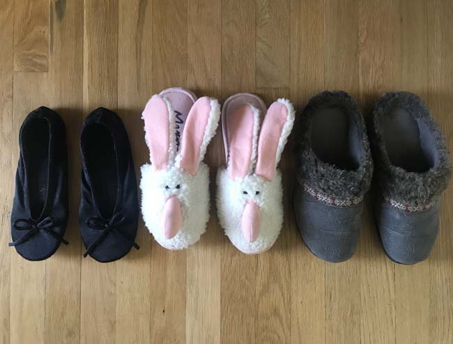 3 pairs of slippers
