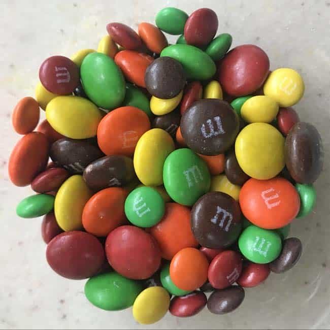 M & Ms with blue removed