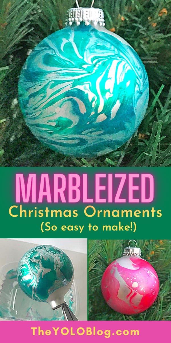 Marbleized Christmas Ornaments