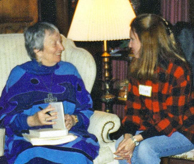 Author Madeleine L'Engle seated with author Eliza Cross